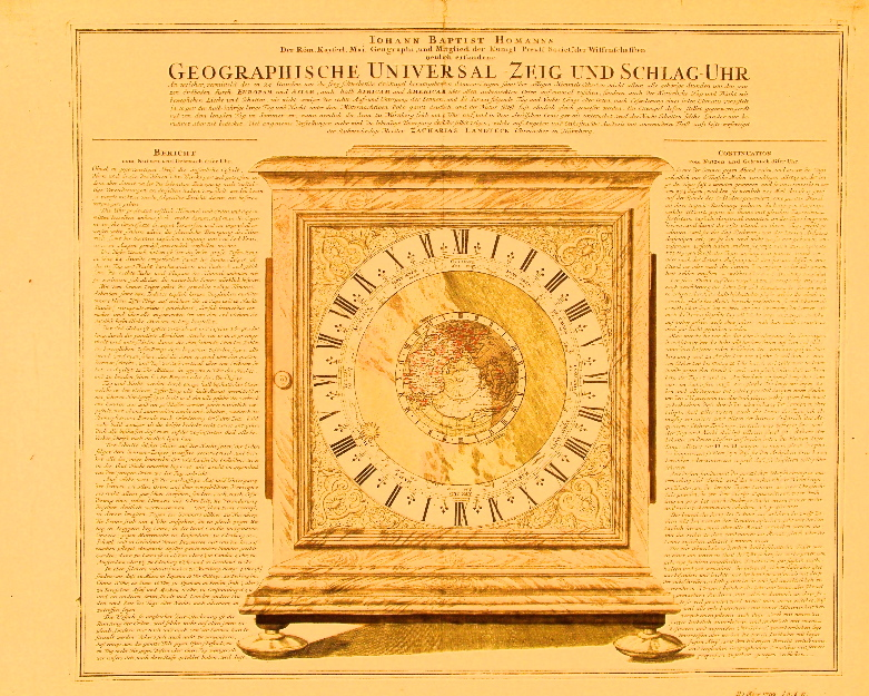 Homann Engraved Clock-Map 1730.